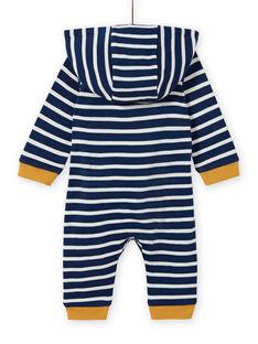 Macacão às riscas azul noite com padrão de animais bebé menino MUMIXCOM / 21WG10J1CBL713
