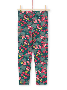 Leggings verdes e rosa estampado florido menina MYAKALEG2 / 21WI01I2CALG604