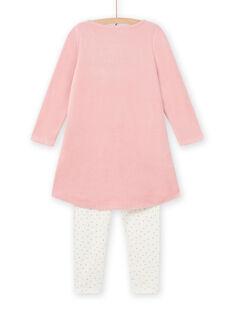 Camisa de noite rosa-velho com padrão de cisnes decorativos menina MEFACHUVEL / 21WH1192CHN303