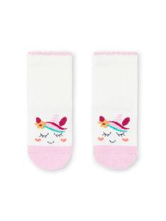 Meias cru e rosa com padrões unicórnios bebé menina MYITUSOQ / 21WI09K1SOQ001