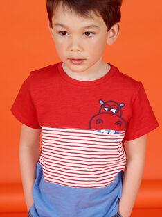 T-shirt vermelha e azul às riscas criança menino LOVITI5 / 21S902U6TMC505