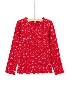 T-shirt canelada de mangas compridas vermelho padrão florido menina MAJOUTEE5 / 21W90126TML511