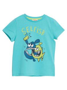 T-shirt menino mangas curtas turquesa selfie peixes JOJOTI7 / 20S902T2D31204