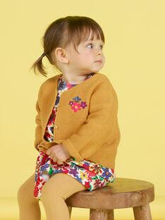 Cardigã mostarda bordado bebé menina MIMIXCAR / 21WG09J1CARB106