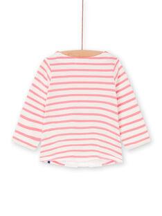 T-shirt branca e rosa às riscas bebé menina LIHATEE / 21SG09X1TMLD305