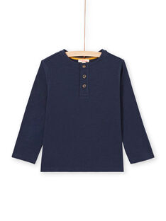 T-shirt de mangas compridas azul-noite gola tunisina menino MOJOTUN1 / 21W90212TML705