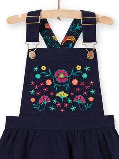 Vestido jardineiras azul-marinho menina MATUROB4 / 21W901K3ROB070