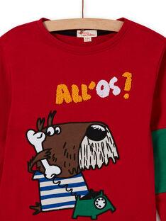 T-shirt vermelho padrão cão decorativo menino MOMIXTEE4 / 21W902J2TML505