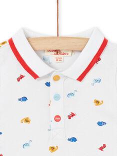 Polo branco com estampado dinossauros bebé menino LUCANPOL / 21SG10M1POL000