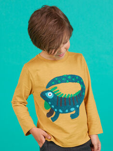 T-shirt de mangas compridas amarelo com padrão de iguana menino MOTUTEE2 / 21W902K3TMLB101