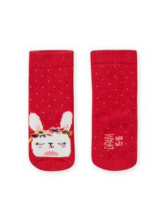 Meias vermelho às bolas com padrão de coelho menina LYIHACHOB / 21SI09X1SOQ505