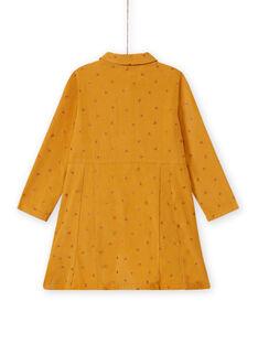 Vestido amarelo de veludo com padrão fantasia menina MASAUROB3 / 21W901P1ROBB107