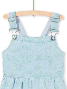 Vestido jardineiras em ganga azul-claro estampado folhagens menina LAVEROB4 / 21S901Q3ROBP272