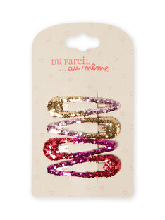 Pack de 4 ganchos com purpurinas menina MYAJOCLIC2 / 21WI01S2BRT955