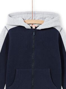 Sweat com capuz azul-marinho e cinzento mesclado menino MOJOJOH1 / 21W90212JGH705