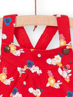 Jardineiras vermelhas e brancas com estampado florido bebé menina LIHACOMB / 21SG09X2CBL505