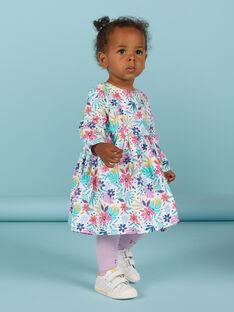 Vestido em veludo canelado multicor com estampado florido bebé menina MIPLAROB4 / 21WG09O4ROB001