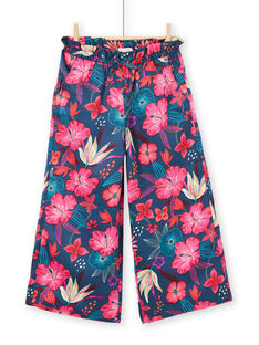 Calças fluídas azul-marinho e rosa estampado florido LABONPANT / 21S901W1PAN716
