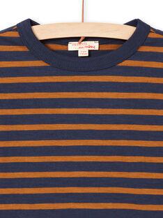 T-shirt de mangas compridas às riscas castanho e azul-marinho menino MOJOTIRIB4 / 21W9022BTML812