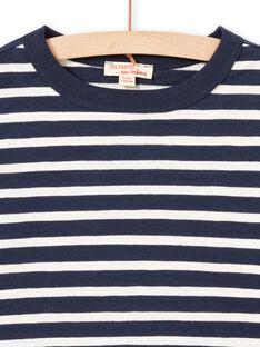 T-shirt de mangas compridas às riscas cru e azul-marinho menino MOJOTIRIB1 / 21W90226TML001