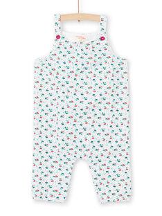 Jardineiras cru e azuis estampado florido bebé menina MITUCOMB / 21WG09K1CBL001