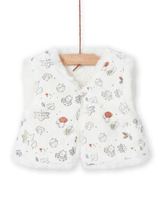 Casaco de malha sem mangas cru em imitação de pelo recém-nascido menina MOU1GIL3 / 21WF0341GIL001
