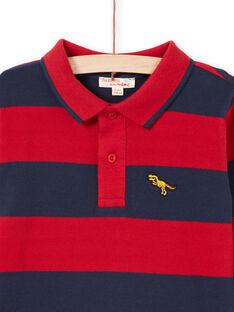 Polo vermelho e azul-marinho às riscas menino MOJOPOL6 / 21W90212POL505