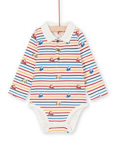 Body cru e amarelo às riscas e estampado carro bebé menino LUHABOD2 / 21SG10X1BOD001