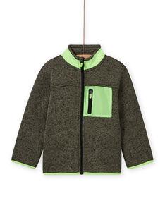 Casaco de malha caqui com aplicações verde fluorescente menino MOJOGITEK4 / 21W90211GILG631