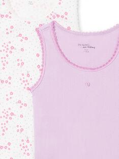 Lote de 2 camisolas de alças branco e malva combináveis menina MEFADERIB / 21WH11B3HLI001