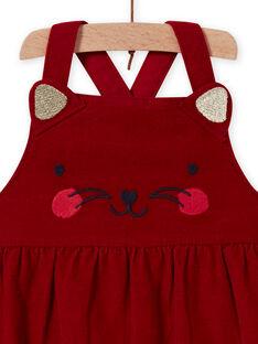 Vestido bola vermelho de veludo com padrão de gato bebé menina MIMIXROB2 / 21WG09J3ROB511