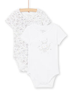 Pack de 2 bodies brancos recém-nascido menino LOU2BOD1 / 21SF04I1BOD000