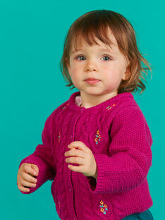 Cardigã em malha rosa escuro bordado bebé menina MITUCAR1 / 21WG09K1CARD312