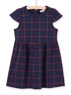 Vestido de mangas curtas azul noite aos quadrados vermelho menina MAJOROB4 / 21W90124ROBC205