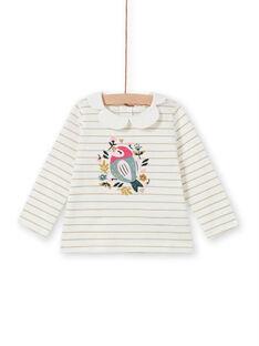 T-shirt às riscas com padrão pássaro e flores bebé menina MIKABRA / 21WG09I1BRA001