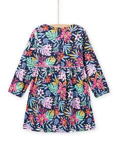 Vestido azul com estampado florido colorido de veludo menina MAPLAROB2 / 21W901O1ROBC202