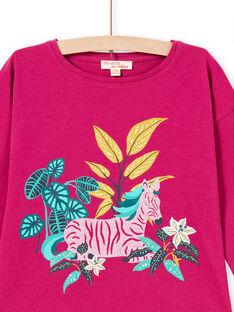 T-shirt de mangas compridas fúcsia padrão zebra menina MATUTEE1 / 21W901K3TMLD312