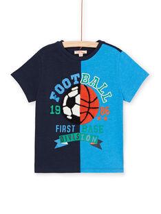T-shirt azul-marinho e azul criança menino LOHATI1 / 21S902X2TMC705