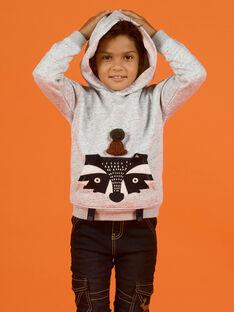 Sweat com capuz cinzento mesclado padrão animal menino MOSAUSWE / 21W902P1SWEJ922