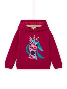 Sweat-shirt com capuz rosa padrão unicórnio menina MATUSWEA / 21W901K1SWED312