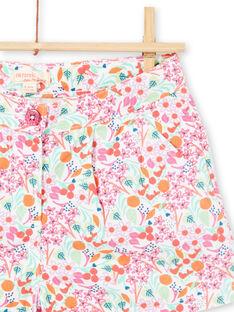 Calções brancos e rosa estampado florido menina LAVISHORT / 21S901U1SHO000
