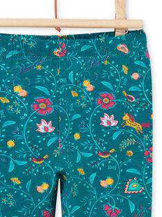 Leggings azul pato com estampado florido bebé menina MYITULEG / 21WI09K1CAL714