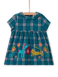 Vestido turquesa aos quadrados e padrões decorativos bebé menina MITUROB3 / 21WG09K1ROBC217