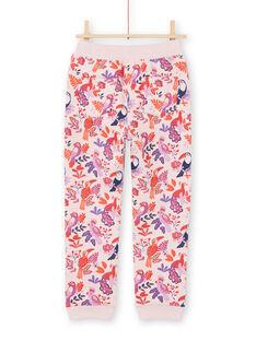 Calças de fato de treino rosa e violeta com estampado de papagaios e florido menina MAJOBAJOG3 / 21W90113JGBD314