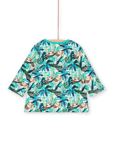 T-shirt azul e verde estampado folhagem bebé menino LUVERTUN / 21SG10Q1TML001