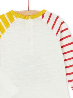 T-shirt cru e amarela em algodão bebé menino LUNOTEE3 / 21SG10L1TML001