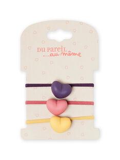 Lote de 3 elásticos de corações a condizer menina MYAFUNELA / 21WI01T6ELAH700