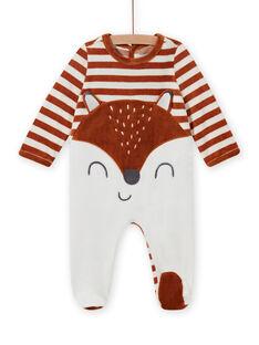 Babygro em veludo às riscas com padrão raposa bebé menino MEGAGRENAR / 21WH1494GRE001