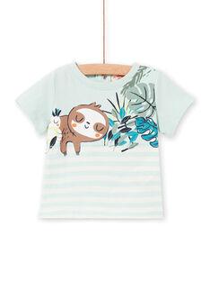 T-shirt verde-água e branca às riscas bebé menino LUVERTI3 / 21SG10Q3TMCG632