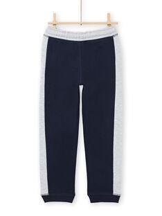 Calças de fato de treino azul-marinho e cinzento mesclado menino MOJOJOB1 / 21W90214JGB705
